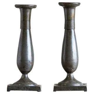 Pair of Antique Biedermeier Period Pewter Candlesticks, Austria circa 1830