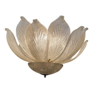 Mid-Century Murano Glass Flower Petal Chandelier For Sale