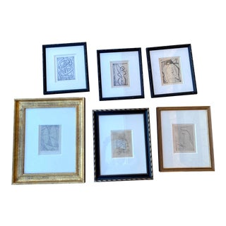 20th C. French Framed Etchings by Duthoo - Set of 6 For Sale