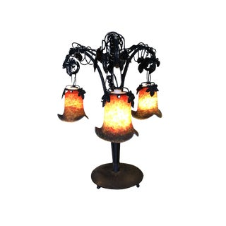 Hand Forged Iron Vineyard Table Lamp W/ Hanging Bell Shades For Sale