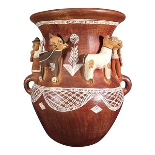 Terracotta Water Jar Urn With Farmer and Cow Figurines For Sale