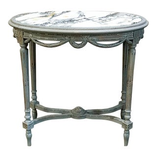 19th Century French Louis XVI Marble Top Painted End Table For Sale