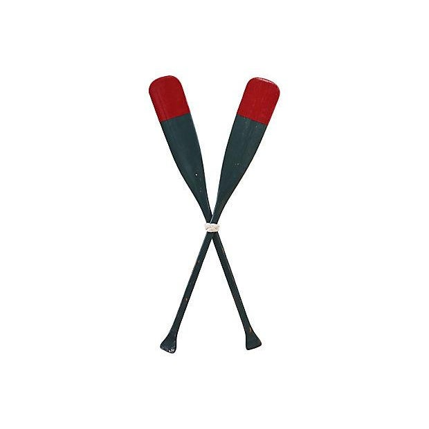 Green 1950s Nautical Oak Wood Boat Oars - a Pair For Sale - Image 8 of 9