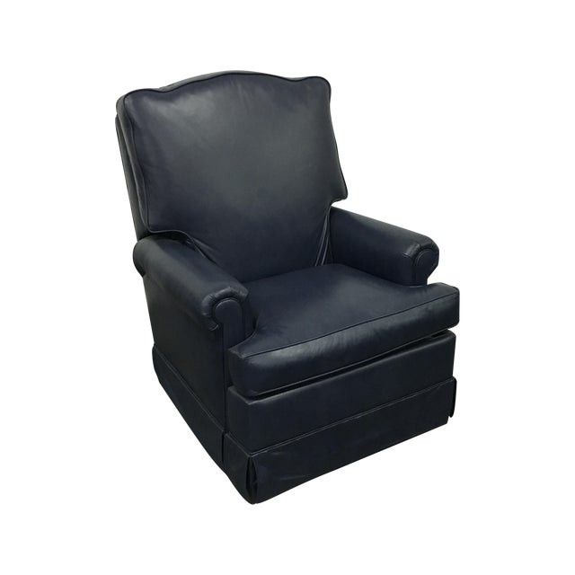 Navy Blue Swivel Recliner by Leathercraft - Image 1 of 10