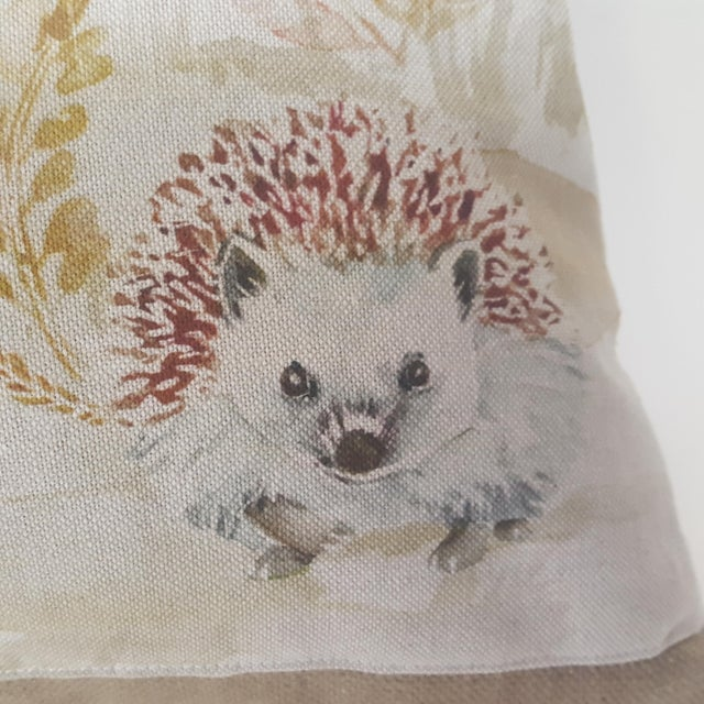 This large bolster pillow of three hedgehogs were made in Wales, U.K., by a small cottage designer/manufacturer owned by a...