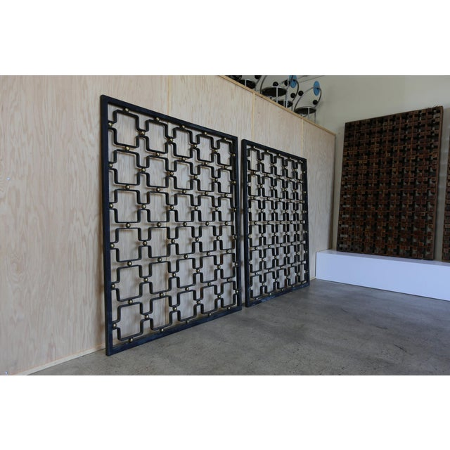 Iron Iron & Brass Architectural Screens - a Pair For Sale - Image 7 of 7