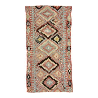 Vintage Turkish Denizli Kilim Rug For Sale