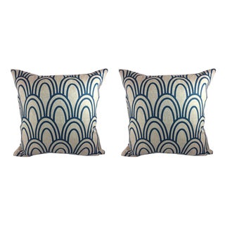 "Studio Bon ""Scallop"" in Prussian Pillows - a Pair"