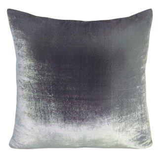 Silver Gray Ombre Velvet Pillow