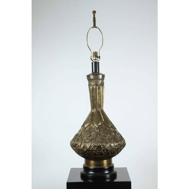 Moorish Indo Persian Brass Table Lamp For Sale - Image 4 of 8