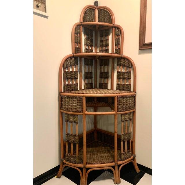 Contemporary Vintage Rattan Corner Cabinet For Sale - Image 3 of 11