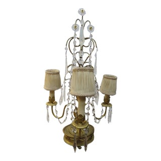 1920s French Style Gilded Dore Bronze 3 Arm Candelabra Lamp For Sale