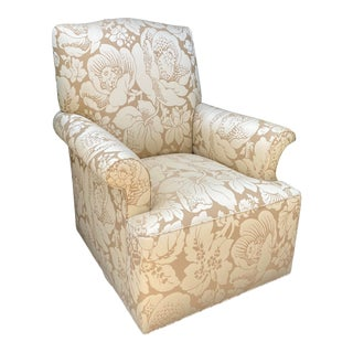 George III Designer Wingback Swivel Chair - Scalamandre Damask For Sale