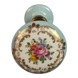 Victorian Light Blue Floral Door Knob For Sale