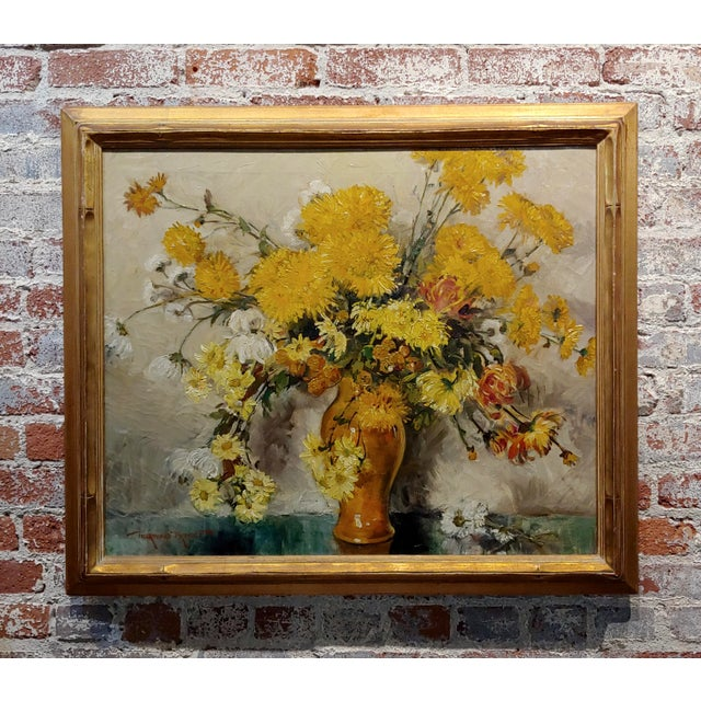 "Thorwald Albert Probst ""Flowers of Fall"" Still Life Oil Panting C.1910s For Sale - Image 11 of 11"