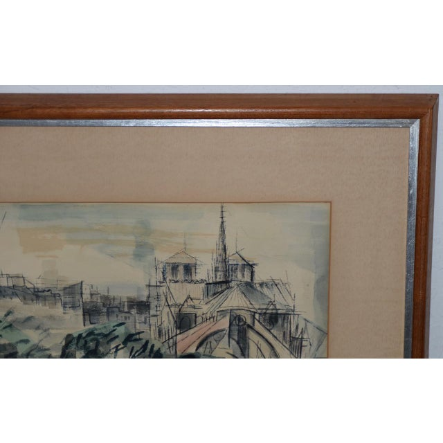 Riva Helfond (American, 20thc.) Notre-Dame de Paris Cathedral in Abstract Watercolor c.1954 Fabulous mid-century modern...