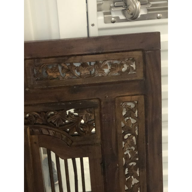 Islamic Vintage Hand Carved Wood Indian Wall Mirror For Sale - Image 3 of 9