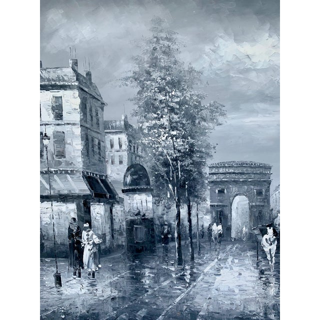 1960s 1960s Vintage Grayscale l'Arc d'Triomphe Painting For Sale - Image 5 of 7