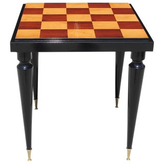 Spectacular French Art Deco Sycamore with Black Lacquer Center Table / Game Table, circa 1940s. For Sale