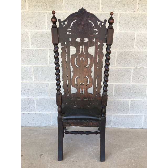 Antique James II Style Victorian Gothic Hand Carved Chair, Signed 1891 For  Sale - Image - Antique James II Style Victorian Gothic Hand Carved Chair, Signed