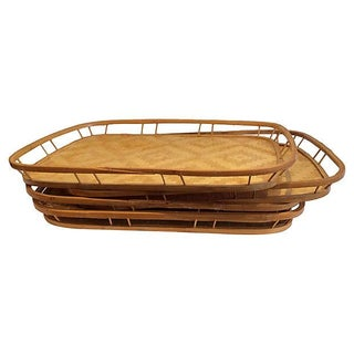 Handmade Bamboo & Raffia Trays - Set of 4