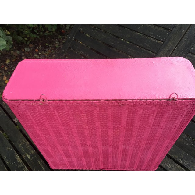 Pink 1950s Shabby Chic Hot Pink Wicker Shelf For Sale - Image 8 of 10