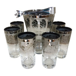 Mid-Century Modern Dorothy Thorpe Grape Pattern Silver Fade Ice Bucket WithTongs and Six 12 Oz. Tumblers - Set of 8 For Sale