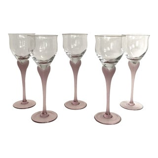 Vintage Mikasa Wine Glasses With Lavender Heart Detailed Stems - Set of 5 For Sale
