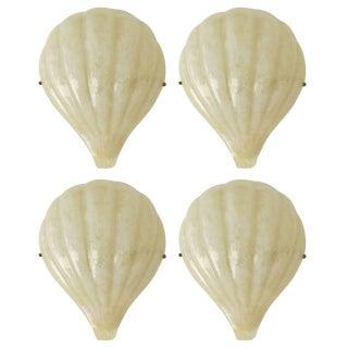 "Rare Set of Four Barovier E Toso ""Shell"" Wall Sconces For Sale"