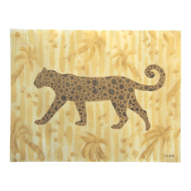 Chinoiserie Tropical Leopard Cheepth Painting by Cleo Plowden For Sale