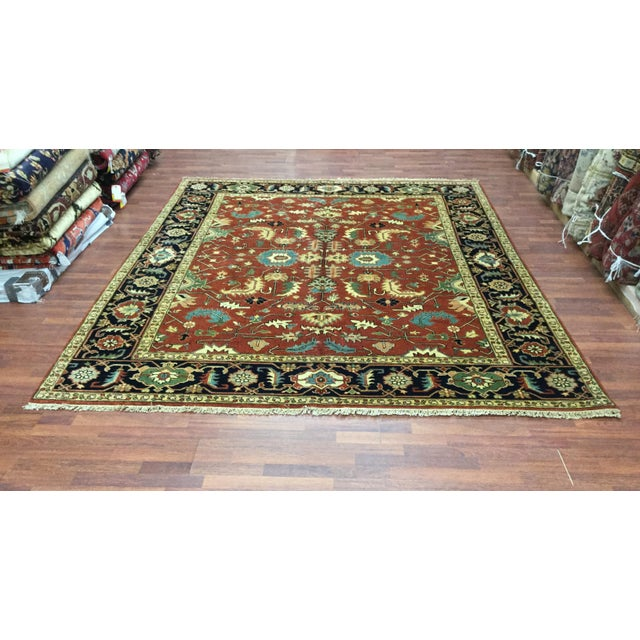 Textile Indo-Persian Heriz Rug - 8′2″ × 9′10″ For Sale - Image 7 of 7