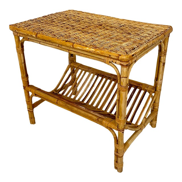 Vintage Rattan Wicker Side Table With Magazine Shelf For Sale