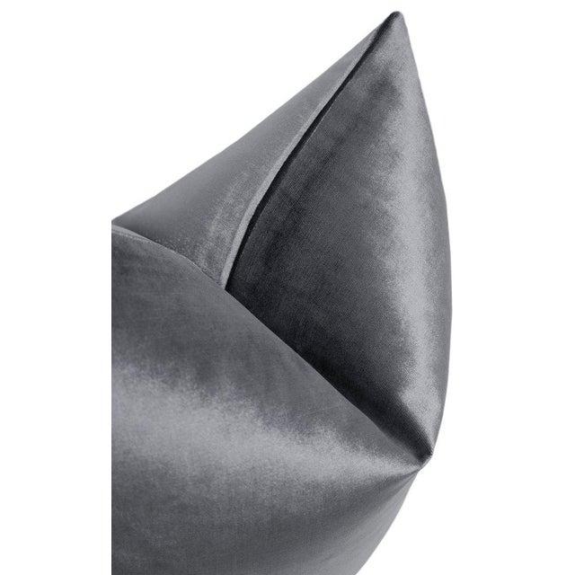 "22"" Graphite Velvet Pillows - a Pair For Sale - Image 4 of 5"