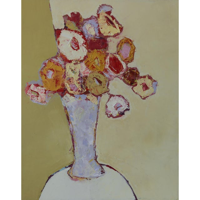 """Bill Tansey """" Lilac Vase"""" Abstract Floral Oil on Canvas For Sale"""