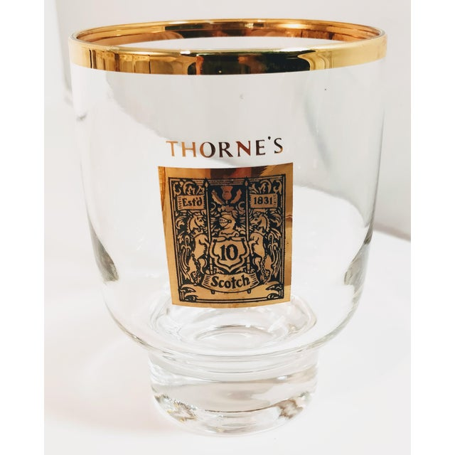 1960's Gold Rimmed Thorne Scotch Lowball Glass For Sale - Image 10 of 10