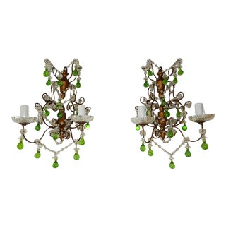1920 French Green Murano Drops Beaded Swags Giltwood Sconces For Sale