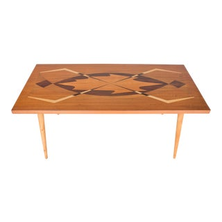 1950s Swedish Coffee Table With Exotic Wood Inlay For Sale