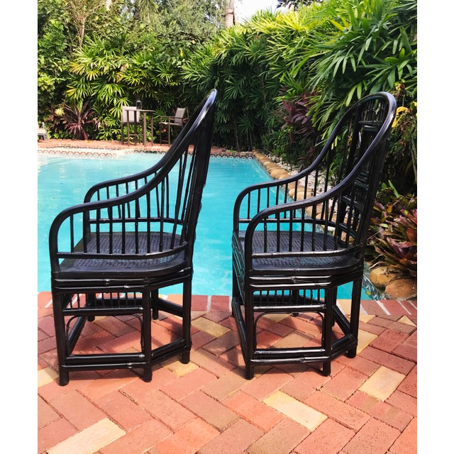 Asian Vintage Brighton Pavilion Chinoiserie-Style Black Lacquered Bamboo and Rattan Chairs- a Pair For Sale - Image 3 of 13