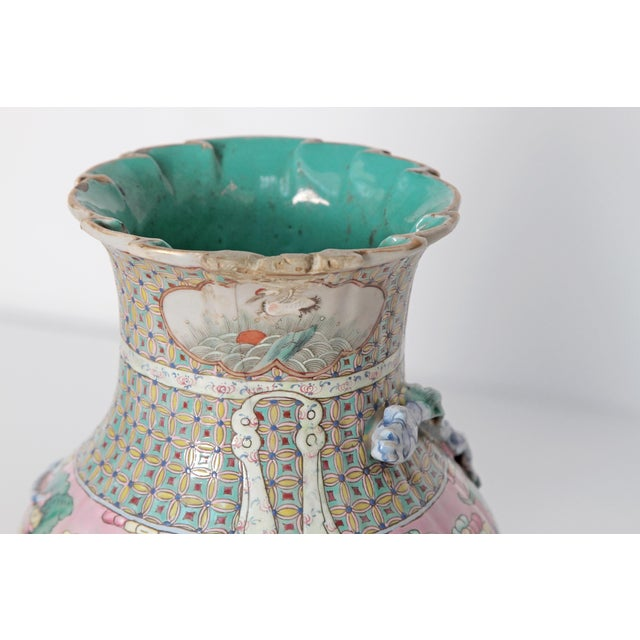 Turquoise 19th Century Pair of Chinese Vases For Sale - Image 8 of 11