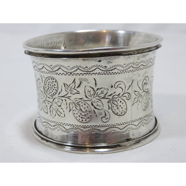 Mid 19th Century Large Antique Victorian Coin Silver Wedding Napkin Rings For Sale - Image 5 of 7