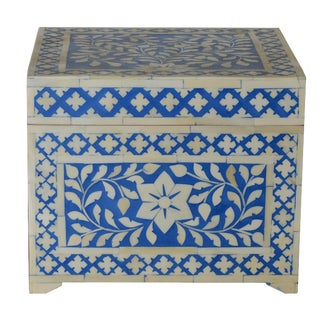 Moroccan Blue Bone Jewelry Box For Sale