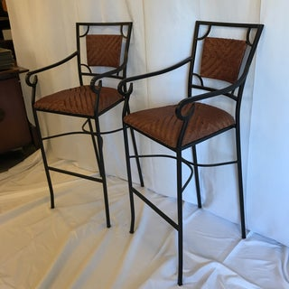 Iron and Woven Leather Bar Stools - a Pair Preview