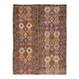 Vintage Brown Purple and Orange Turkish Kars Kilim Oversized Rug For Sale