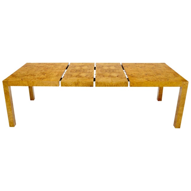 Rectangle Shape Burl Wood Dining Room Table with Two Extension Leaves Boards For Sale