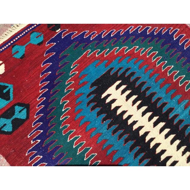 Textile Small Vintage Turkish Kilim Rug For Sale - Image 7 of 10