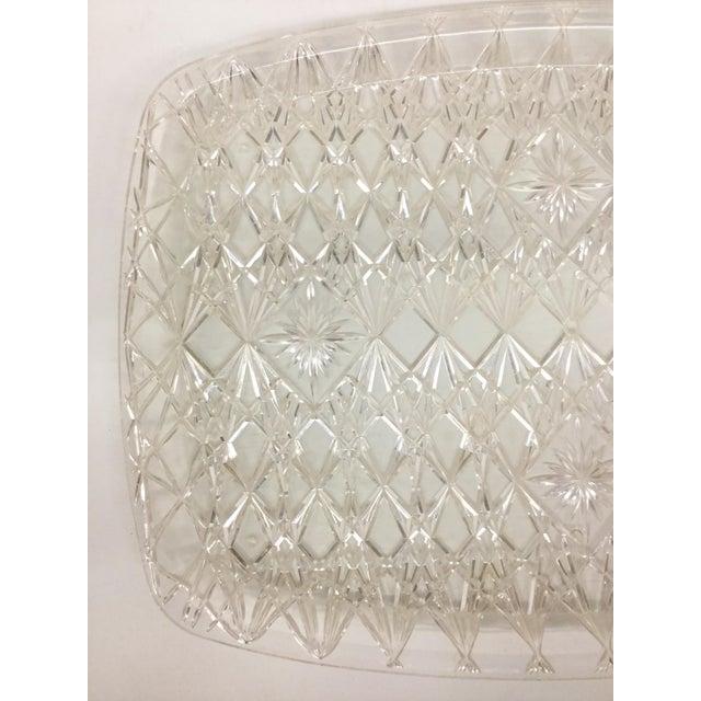 Transparent Large Vintage Clear Carved Lucite Serving Tray For Sale - Image 8 of 13