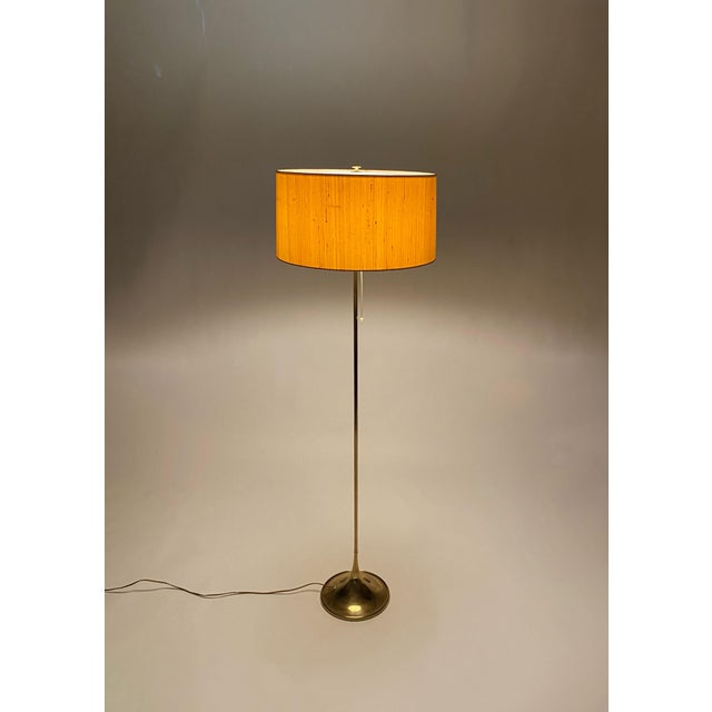 Mid-Century Modern Bergboms Model G-025 Brass Floor Lamp With Silk Shade For Sale - Image 3 of 12