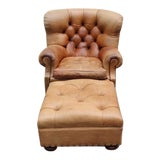 """Image of 1980s Vintage Ralph Lauren Tufted Leather """"Writers"""" Chair and Ottoman For Sale"""