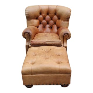 "1980s Vintage Ralph Lauren Tufted Leather ""Writers"" Chair and Ottoman For Sale"