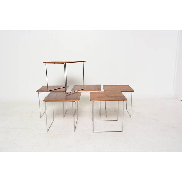 Modern Set of 6 Teak Nesting Tables Poul Nørreklit for Gp Farum Magic Puzzle Cube For Sale - Image 3 of 7